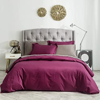 SUSYBAO 100% Natural Cotton 2 Pieces Duvet Cover Set Twin/Single Size Marsala/Burgundy Bedding Set with Hidden Zipper Ties 1 Solid Duvet Cover 1 Pillow Sham Luxury Quality Soft Fade Resistant Durable