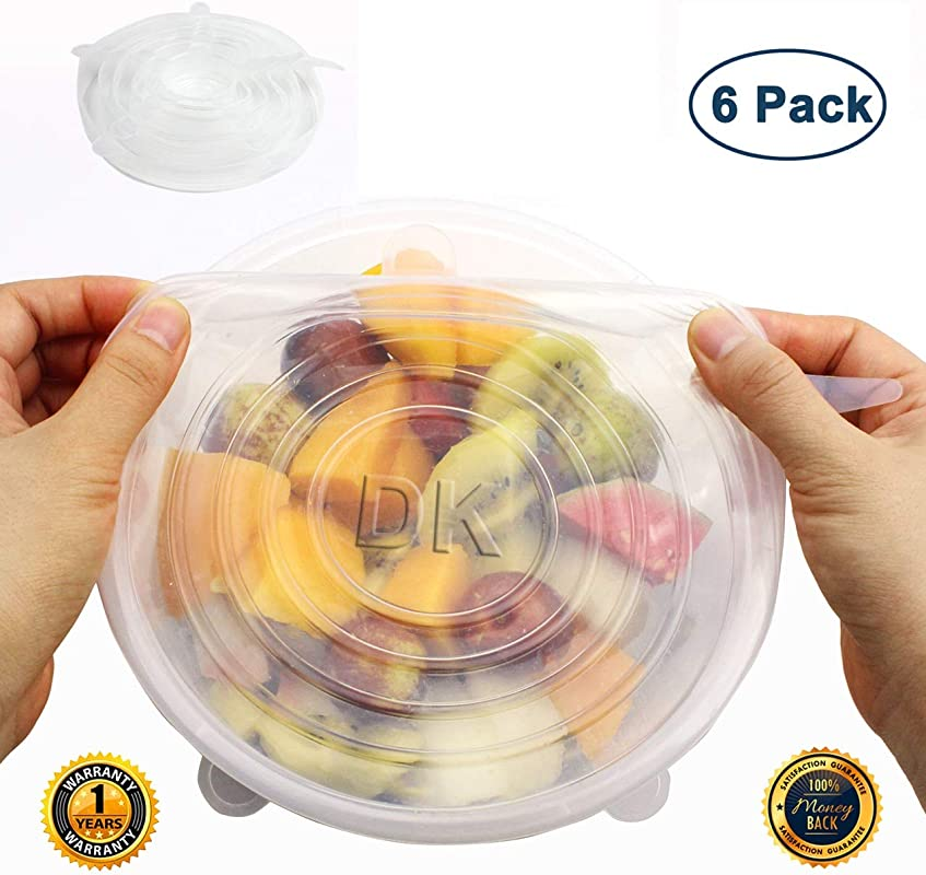 Silicone Stretch Lids 6 Pack Zero Waste Reusable Silicon Container Lid For Cover Leftover Food And Fruit Or Bowl Clear
