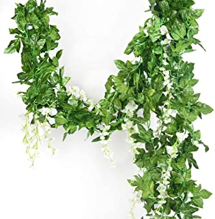5 Strands 32.8 ft Artificial Silk Wisteria Vine Ratta Ivy Garland Wisteria Artificial Flowers Hanging Plants Vines Faux Gr...