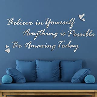 3D Acrylic Mirror Wall Decor Stickers Believe in Yourself Anything is Possible Be Amazing Today Inspirational Quote Mirror...