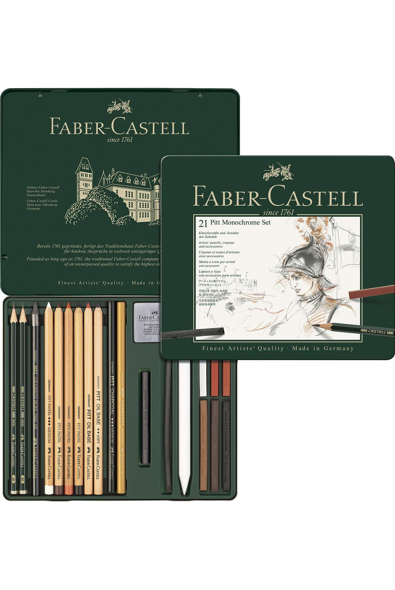 Faber-Castell 112977 - Pitt Monochrome Set en caja de metal ...