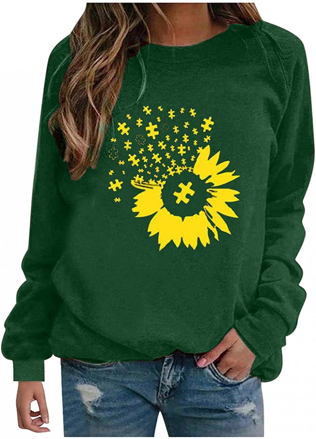 Long Sleeve Tunic Tops for Women Sunflower Printed Fall Shirts Crewneck Sweatshirts Basic Casual Pullover