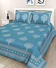 BedZone 100% Cotton Rajasthani Jaipuri Traditional King Size Double Bed Bedsheet with 2 Pillow Covers- Multi