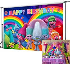 Colorful Rainbow Themed Trolls Poppy Photography Backdrop Girls Happy Birthday Decoration Party Banner Photo Booth Studio Props Trolls Photo Background Vinyl 5x3ft Cake Table Supplies