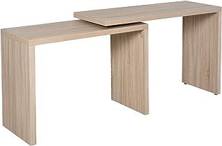 HOMCOM Bureau Informatique Design Contemporain Table Informatique modulable Panneaux Imitation chêne Clair