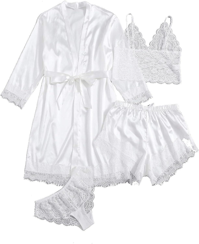 discount SOLY HUX Women's Sleepwear 4pcs Floral Max 56% OFF Paja Cami Satin Trim Lace