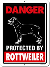 Honey Dew Gifts Rottweiler Sign Danger Protected by Rottweiler 9 x 12 Inch Beware of Dog Warning Metal Aluminum Tin Sign - Beware of Dog Signs for Fence