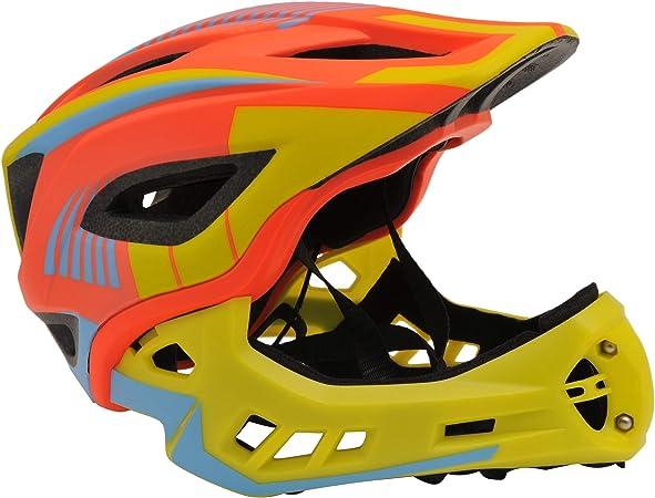 KIDDIMOTO - Casco Integral para Bicicleta, Patinete y Patinete con Protector de Barbilla Desmontable - Color Amarillo y Naranja