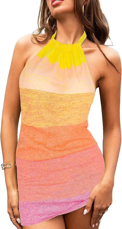 Women's Knitted Bodycon Party Club Dress Mini Backless Halter Sleeveless Holiday Beach Dress