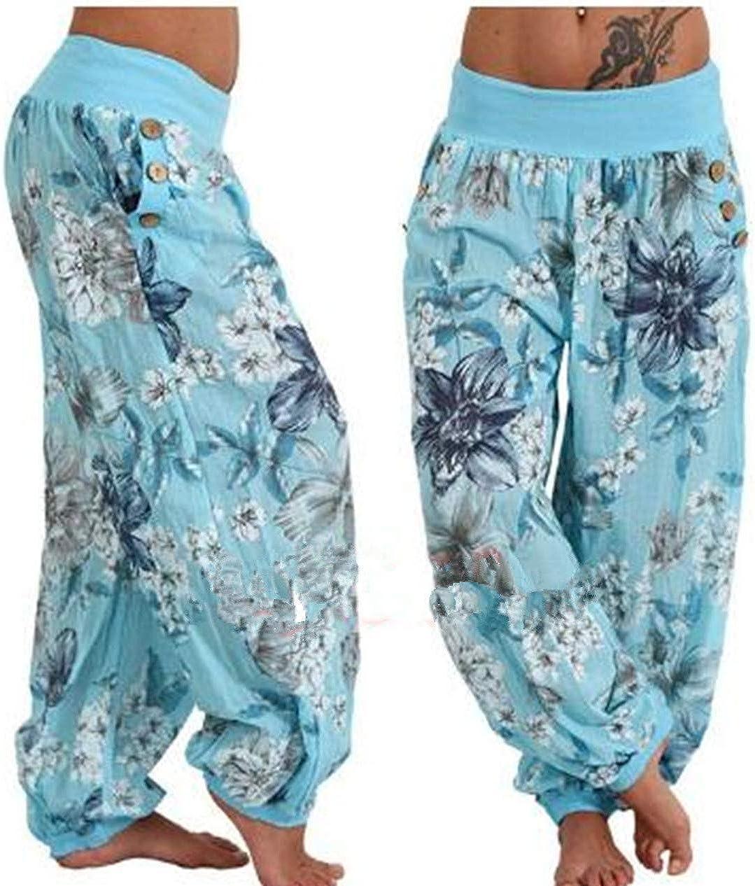 Ylansea Women's Casual Loose Multicolor Trousers Digital Printing High Waist Harem Pants