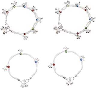 Frolics India Combo of Multicoloured Stones Studded With Ghungroo (Bells) Alloy Anklet For 3-8 Years Kids (Pack of 4)