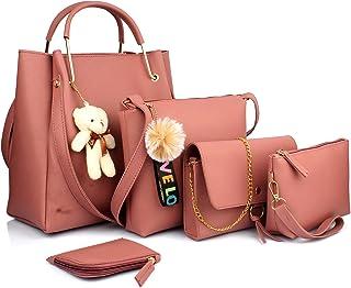 Mammon women's Handbag combo Pink (set of 5)