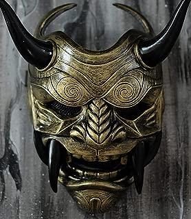 tripple_777 Samurai Assassin Demon Oni Airsoft Mask BB Gun Halloween Costume Ninja Warrior Evil Cosplay Gold DA03