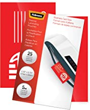 Fellowes Thermal Laminating Pouches, ImageLast, Jam Free, Letter Size, 3 Mil, 25 Pack (5200501),Clear