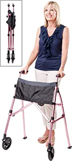 Best Stander EZ Fold-N-Go Walker, Lightweight Folding Mobility Rolling Walker for Seniors and Adults, 6-inch Wheels, Ski Glides, and Organizer Pouch, Regal Rose Review