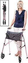 Stander EZ Fold-N-Go Walker, Lightweight Folding & Narrow Adult Travel Walker with Wheels for Seniors, Regal Rose