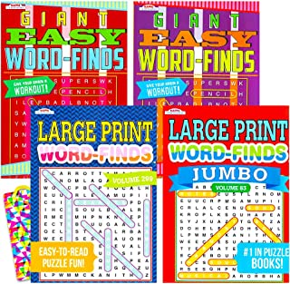 Word Find Puzzle Books for Adults Seniors -- Set of 4 Jumbo Word Search Books with Large Print (Over 380 Pages Total)