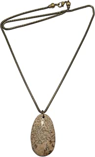 SatinCrystals Feldspar Necklace Graphic Zebradorite Brown Smoky Quartz Grounding Stone Pendant Antique Chain B01