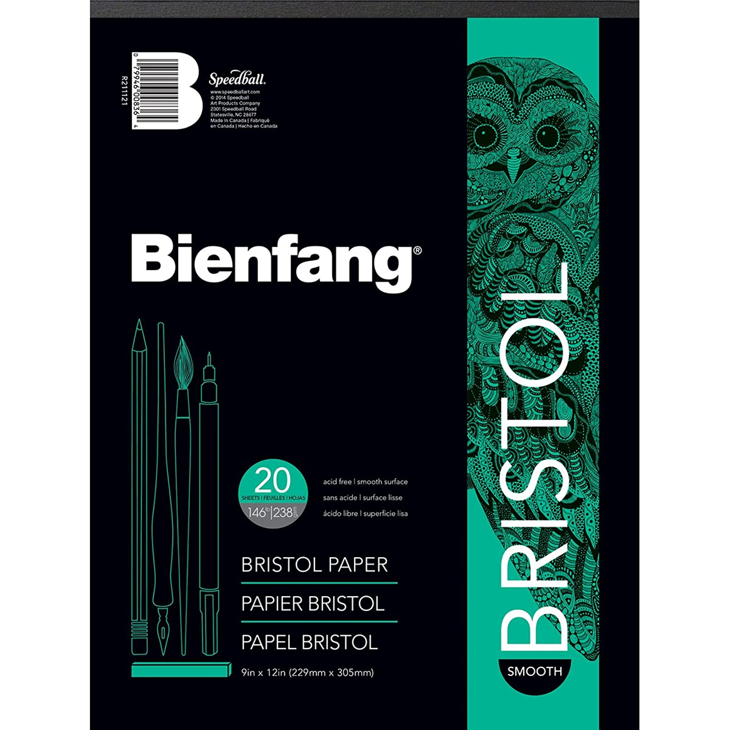 Bienfang Bristol 9-Inch by 12-Inch Paper Pad, Smooth Surface, 20 Sheets