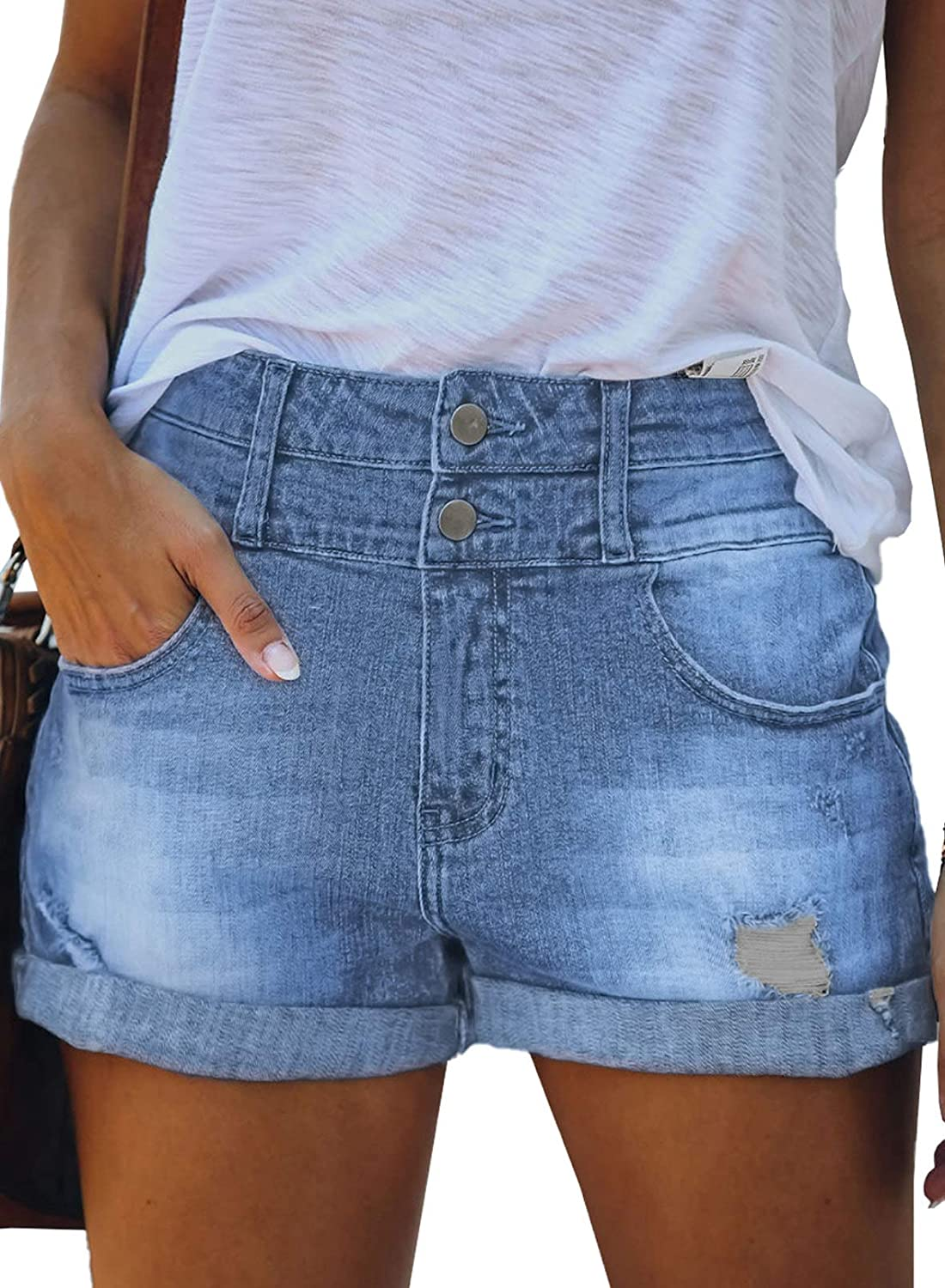 Dokotoo Womens Casual Summer Front Button Distressed Ripped Rolled Hem Denim Shorts
