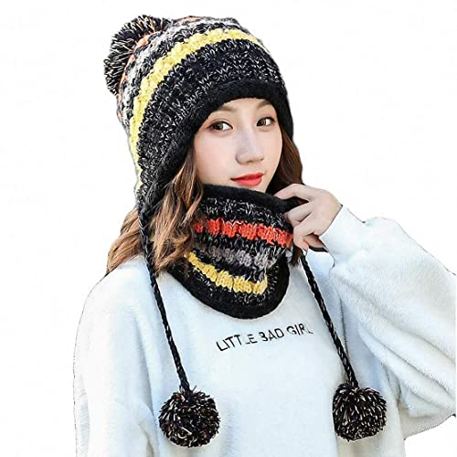 83be64f3e43 Women Knitted Hat Scarf Set Girls Women Gift Winter Warm Thicken Crochet  Bobble Pom Pom Beanie