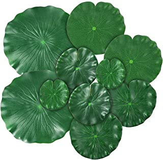 Auihiay 10 Pieces 5 Kinds Artificial Floating Foam Lotus Leaves Lily Pads Artificial Foliage Pond Decor for Pond Pool Aquarium Decoration