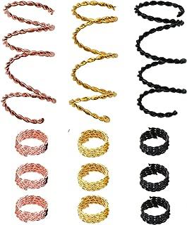 Teemico 30 Pieces Copper Hair Dreadlocks Coil Hair Wraps Braiding Dread Locks Metal Hair Cuffs Hair Braiding Jewelry Hair Decoration Accessories (3 colors)