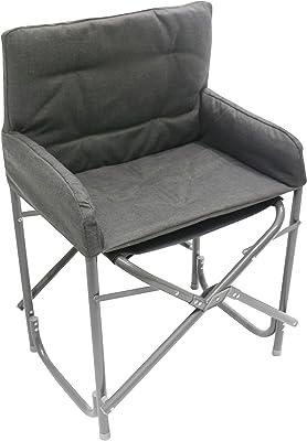 Homecall - Silla plegable de aluminio con respaldo (gris)