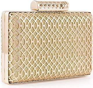 Womens Exquisite Gold Silver Evening Clutch Bag Geometric Metal Frame Glittering Handbags …
