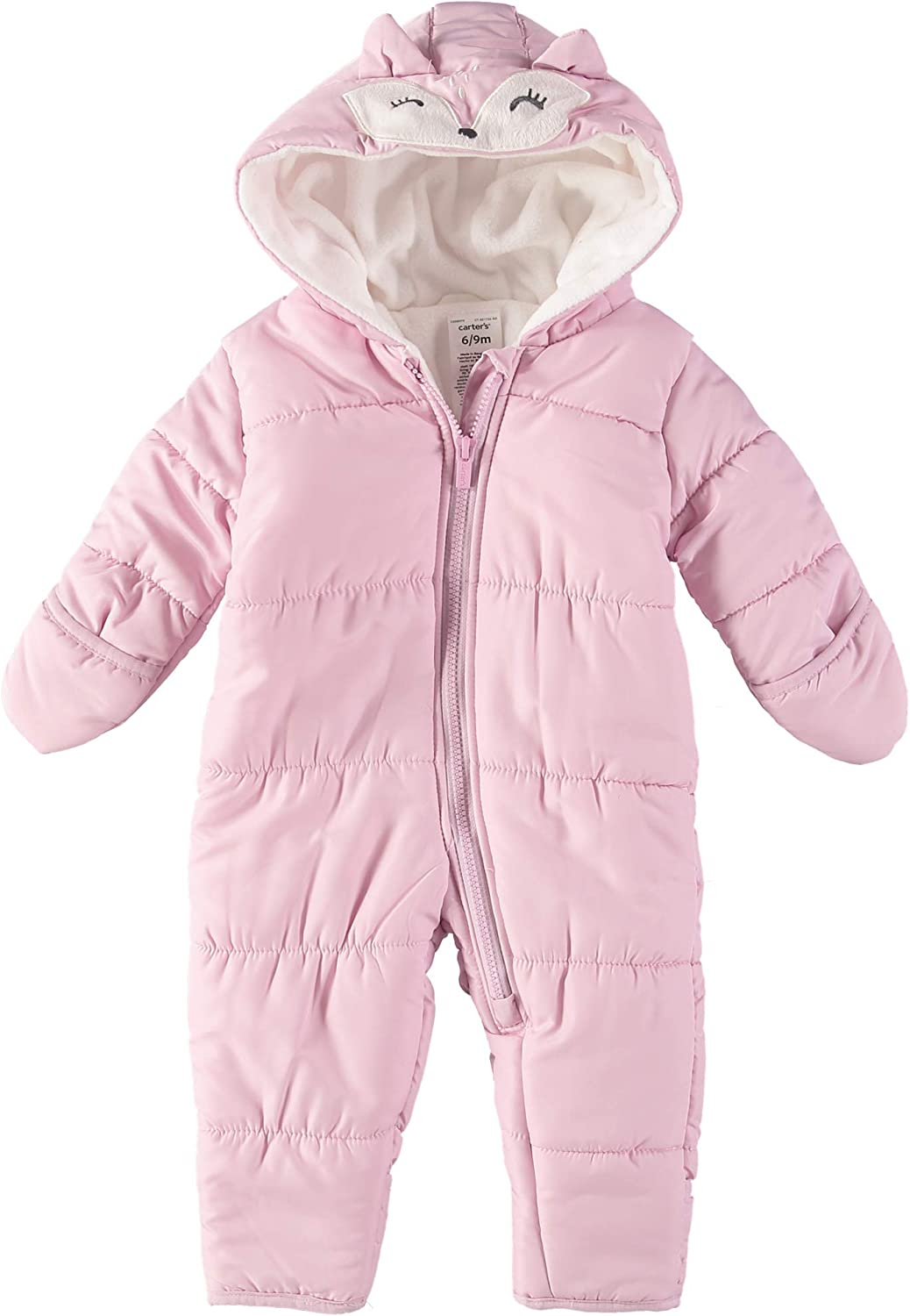 Carter's Baby Boys' and Baby Girls' Zip-Up Hooded Pram with Fold Over Feet