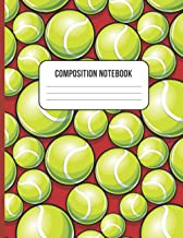 TENNIS BALL COMPOSITION NOTEBOOK: WIDE RULED LINED PAGES FOR KIDS, STUDENTS & TENNIS PLAYERS   PERFECT PARTY FAVOR OR STOC...