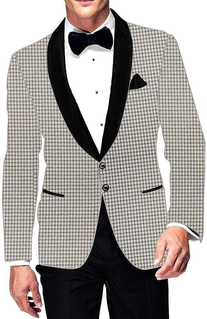 INMONARCH Mens Slim fit Casual Off White Blazer Sport Jacket Coat Small Checks SB15672XL46 46 X-Long White