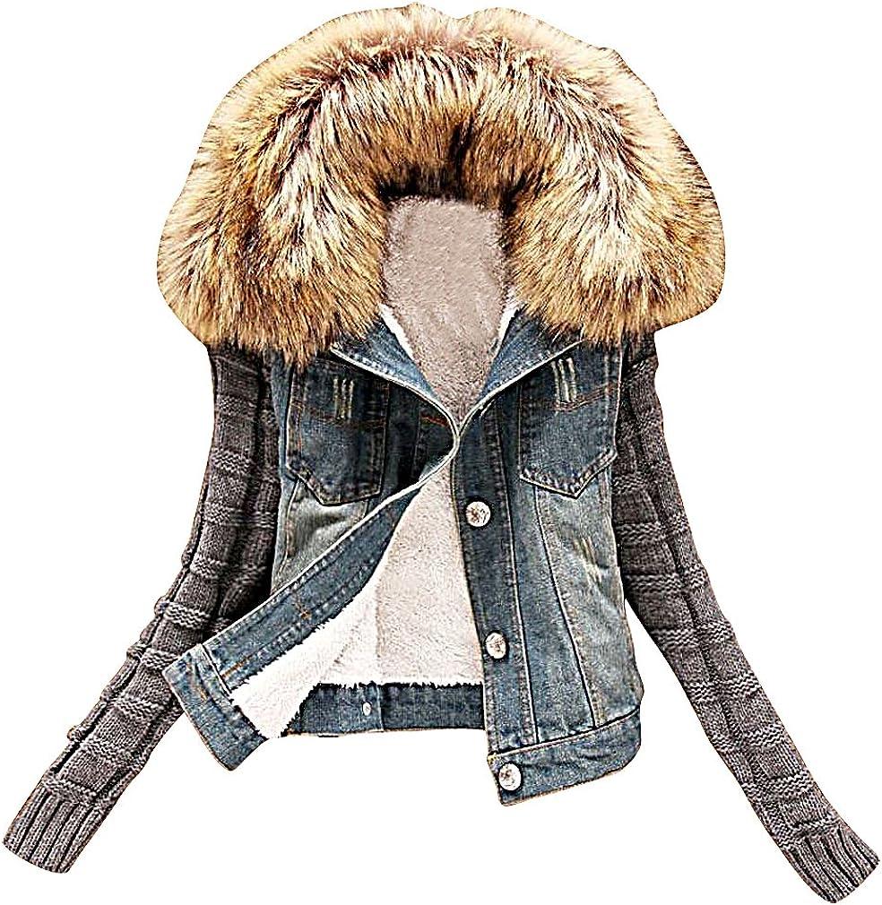 US&R Women's Fashion Faux Fur Hooded Fitted Denim Jacket Spring Autumn Fashion