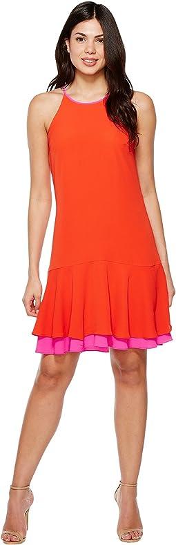 Sleeveless Halter Color Blocked Ruffle Hem Dress