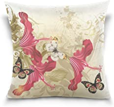 """MASSIKOA Retro Flowers and Butterflies Decorative Throw Pillow Case Square Cushion Cover 20"""" x 20"""" for Couch, Bed, Sofa or..."""