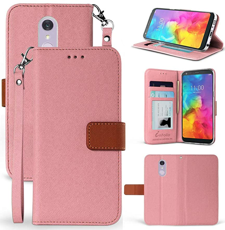 LG Q7 Plus Case, [Rose Gold/Brown] Infolio Wallet Credit Card Slot Cover, View Stand [with Magnetic Closure, Wrist Strap Lanyard] for LG Q7 Plus, Q7, Q7+