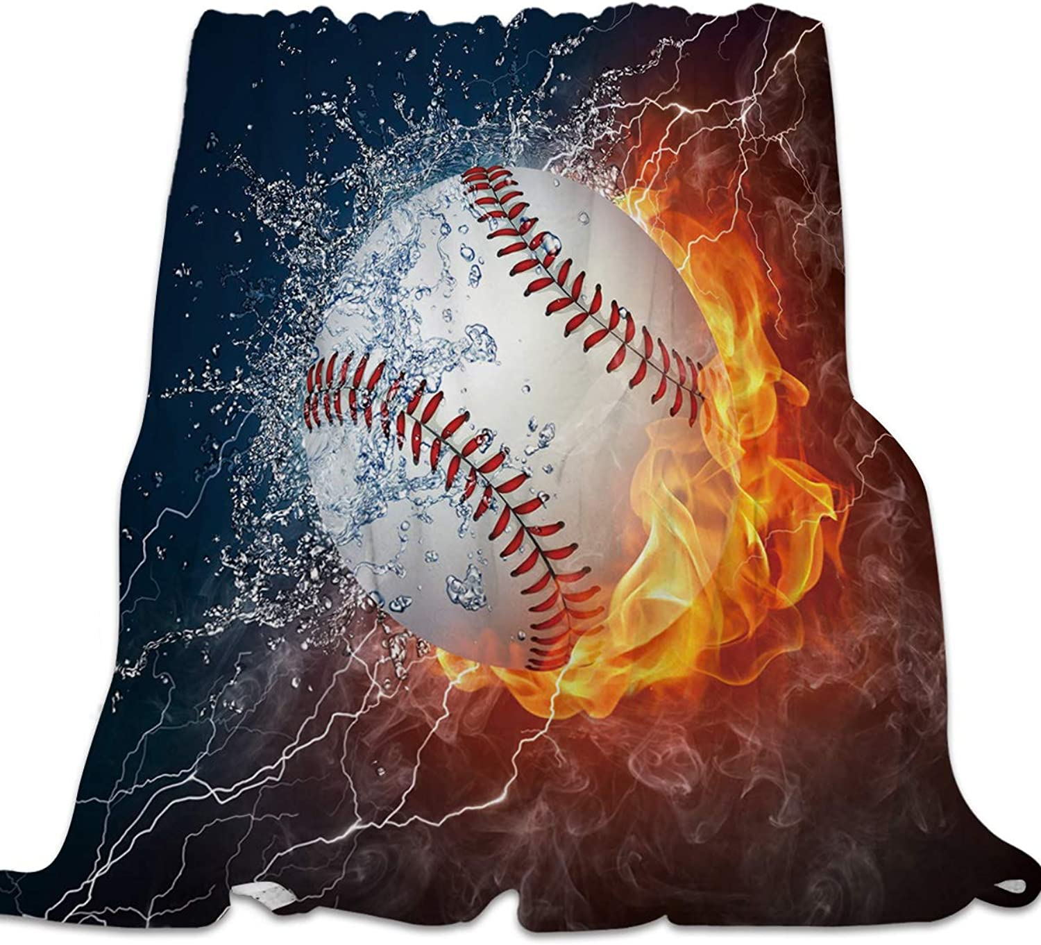 49x59 Inch Flannel Fleece Bed Blanket Soft ThrowBlankets for Girls Boys,Cool 3D Baseball with Water Fire Prints,Lightweight Warm Kids Blankets for Bedroom Living Room Sofa Couch Home Decor