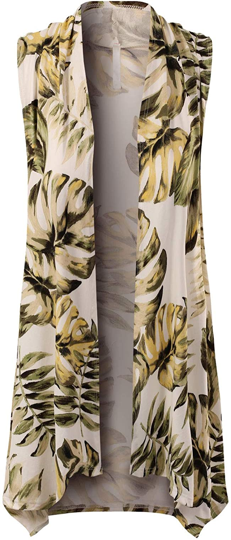Design by Olivia Women's Lightweight Sleeveless Draped Open Front Cardigan Vest