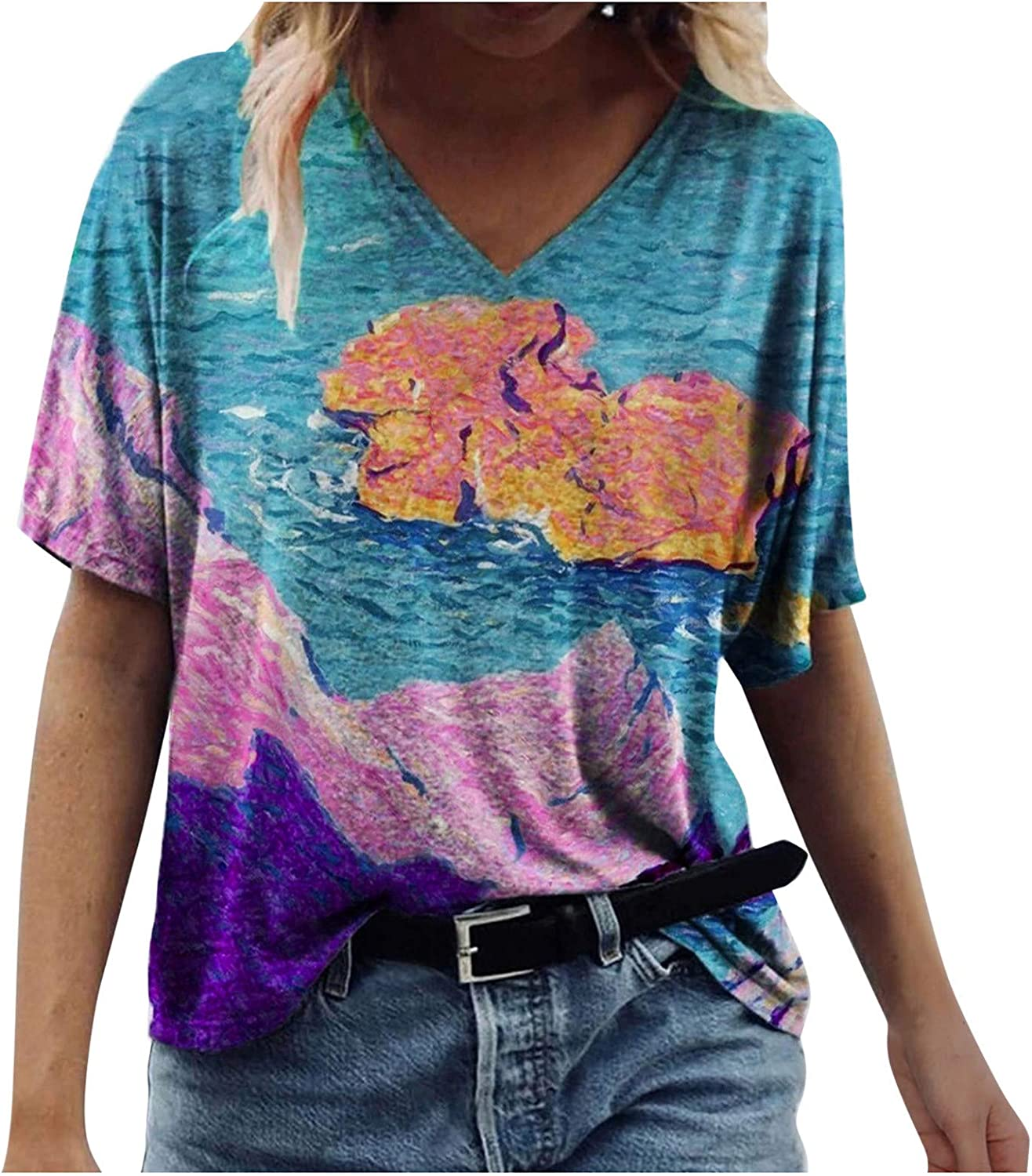 Tops for Women, Casual Summer T Shirts Vintage Boho Graphic Tees Basic Comfy Loose Fit Tunics Short Sleeve V Neck Blouse