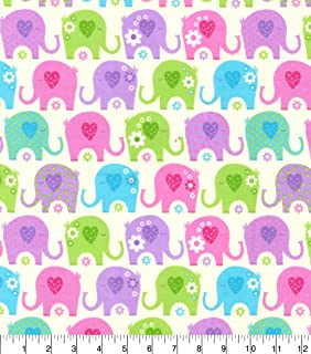 Flannel Sweet Baby Elephant Rows Fabric Sold by the Yard