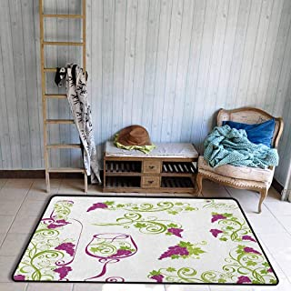 Pet Rug,Wine Wine Bottle and Glass Grapevines Lettering with Swirled Branches Lines,Rustic Home Decor,3'3
