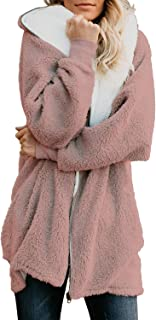 Dokotoo Womens Solid Oversized Zip Down Hooded Fluffy Coat Cardigans Outwear Pockets