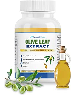 Olive Leaf Extract by Tranquility Labs - 750mg, 120 Capsules - Extra Strength - 20% Oleuropein - Supports H...