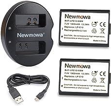 Newmowa LP-E10 Batería de Repuesto (2-Pack) y Kit de Cargador Doble para Micro USB portátil para Canon EOS Rebel T3 T5 T6 T7 1100D 1200D 1300D 2000D 4000D EOS Kiss X50 EOS Kiss X70