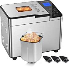 Bread Maker, ROZMOZ Stainless Steel Bread Machine 15-in-1 2LB Digital Breadmaker with Nonstick Ceramic Pan & Digital Touch Panel, 3 Crust Colors 3 Loaf Sizes, 8 Deluxe Accessory kits