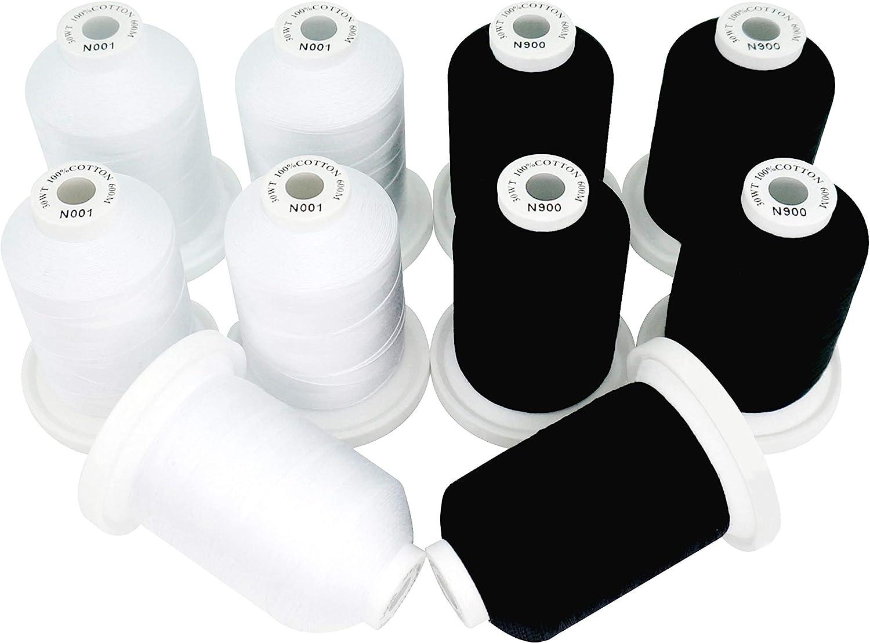 New Popular brand brothread 5 White+5 Max 44% OFF Black Multi-Purpose Colors 100% Merceriz