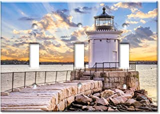 Art Plates 3-Gang Toggle OVERSIZED Switch Plate/OVER SIZE Wall Plate - White Lighthouse on the Rocks