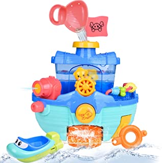 Toddler Bath Toy Boats Set, 2 Pack Bath Boats for Kids, Bathtub Water Toys for Boys and Girls