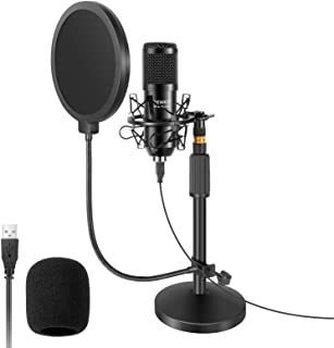 Neewer USB Microphone with Stand Kit - 192KHz/24Bit Plug&Play Cardioid PC Condenser Mic with Round Base Mic Stand, Pop Fil...
