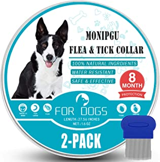 MONIPGU Flea and Tick Collar for Dogs,2 Pack,Natural Flea and Tick Prevention for Dogs,8 Months Protection,One Size Fits A...